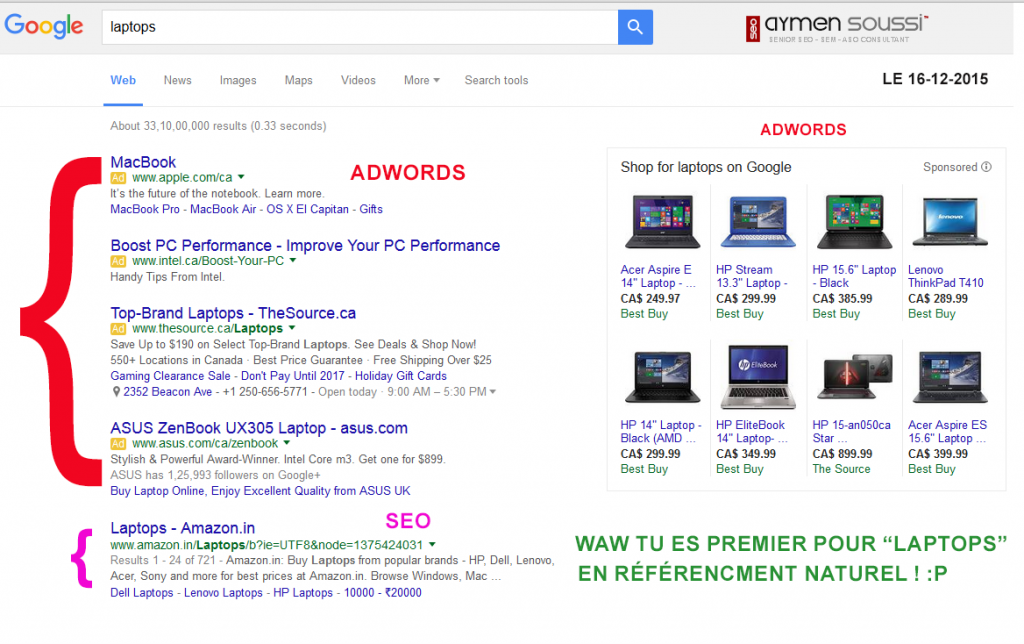 4 pubs adwords sur le serp de google