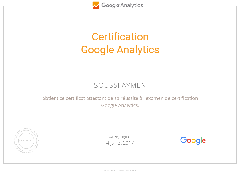 Certification Google Analytics - Aymen SOUSSI
