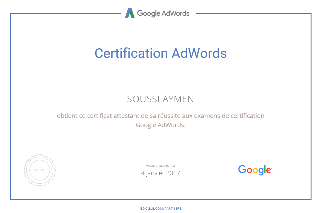 Google Adwords certification - Aymen SOUSSI